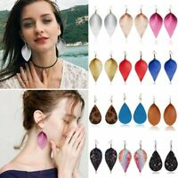 Women Boho Handmade Leather Earrings Leaf Teardrop Dangle Ear Hook Jewelry Gift