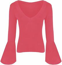 New Ladies Long Bell Sleeve Jersey Stretch Tops 8-14
