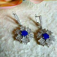 Orecchini Fiore Zirconi Blu Zaffiro e Brillanti su Argento 925 Pendenti x foro