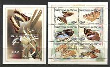 CHAD 1998, BUTTERFLIES, Scott 772-773, SHEET OF 6 AND SOUVENIR SHEET OF 1, MNH