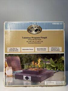 New Hampton Bay Table Top Fire Pit 8,000 BTU Gas Powered Portable Antique Bronze