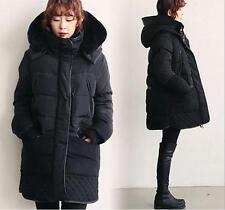 Women Lambwool Hooded Winter Thickening Warm Down Jacket Feather Long Coat Parka