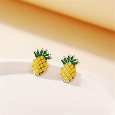 NEW Women Cute Pineapple Earrings Shining Ear Studs Earring Hawaii Summer Gift