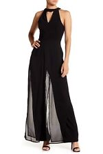 Marina Chiffon Overlay Jumpsuit Stand collar with front V-neck Size 6, $159 NWT