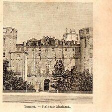 Stampa antica TORINO veduta di Palazzo Madama Piemonte 1899 Old print