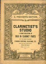 C. FISCHER'S EDITION CLARINETIST'S STUDIO SOLO Bb CLARINET PARTS PAUL DE VILLE