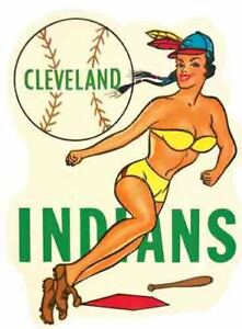 CLEVELAND INDIANS  Baseball   Vintage style 1950's  Travel Decal Sticker girl