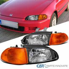 Fit 92-95 Honda Civic 4Dr Sedan Replacement Black JDM Headlights+Corner Lamps
