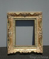Vintage French Provincial Ornate Rococo Gold Green Picture Frame