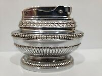 Vintage Working  JAPAN MADE / QUEEN ANN / Beaded Chrome Tabletop Lighter Japan