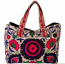 NEW! Tote Handbag Tribal Blue Suzani Embroidered Vintage Boho Indian Gypsy Bag!
