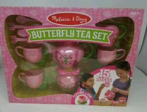 Melissa & Doug Bella 15 Pieces Butterfly Pretend Play Tea Set Pink NEW