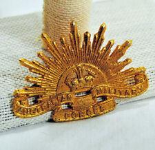 Hat Badge Australian Military Forces Rising Sun Gold Vintage Militaria Original