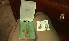 gold color Necklace and Pair Earrings Vintage Park Lane Jewelry Green and