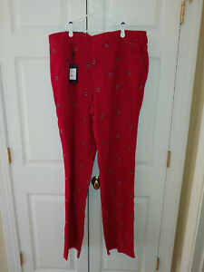 New Men Lilly Pulitzer Holiday Red Corduroy Phipps Clink Martini Pants Size 40