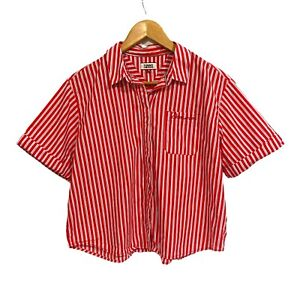 Tommy Jeans Womens Size M Button Up 'Dreamer' Striped Shirt Short Rolled Sleeves