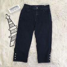 NYDJ Womens Size 8 Capri Crop Jeans Rhinestone Mid Rise Dark Wash Stretchy