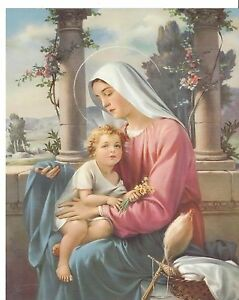 """Catholic Print Picture Mary and Child Jesus 8x10"""" ready to frame"""