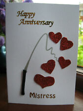 SEXY FETISH FUN ANNIVERSARY CARD FOR MISTRESS - WHIP AND RED GLITTERY HEARTS!