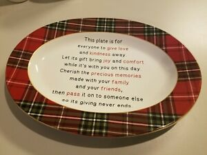 222Fifth Wexford Red Christmas Plaid New Large Serving Platter Pass It Forward