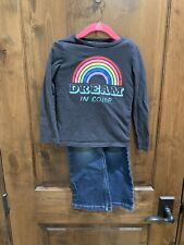 Oshkosh Lands End Little Girls Long Sleeve Tee Bootcut Jeans Outfit, Size 5