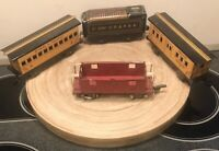 3 RARE MARX LITHO TIN TRAINS} TENDER, PASSENGER and BAGGAGE CAR + AF 484 CABOOSE