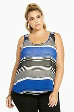 NWT Torrid Plus Size 4X Blue Black Striped Chiffon Button Back Tank Top (AAA18)