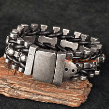 Vintage Gunmetal Stainless Steel Skulls Black Leather Braided Men's Bracelet