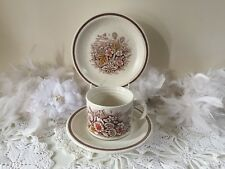 Vintage teacups trio set with mushroom pattern  Churchill Homespun Stone-cast