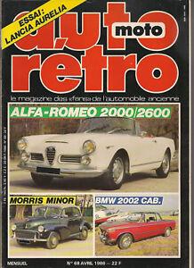 AUTO RETRO 68 ALFA ROMEO 2000 2600 BMW 2002 CABRIOLET MORRIS MINOR DELAHAYE 148