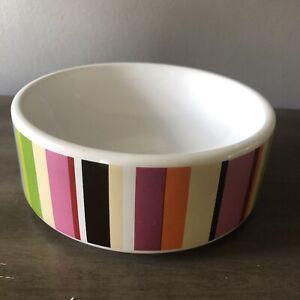"Isaac Mizrahi Ceramic MULTICOLOR BAR STRIPES Cat / Dog Bowl Medium 6"" D x 2.5"" T"