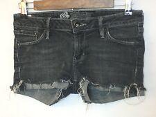 Bullhead Black Denim Juniors Mini Shorts Cutt-Offs Threaded Stretch Size 3