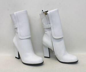 BNIB JIL SANDER Ladies White Leather Round Toe High Heel Mid Calf Boots UK2 EU35