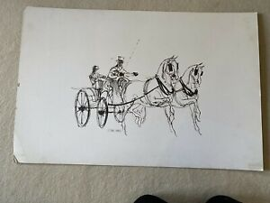 Fabulous large Owen Ward horse and carriage driving pen ink on paper signed