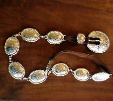 Brown leather Western   Silver concho  tooled metal belt M