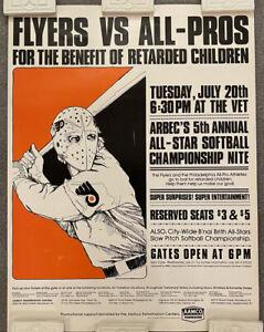 Rare 1976 Philadelphia Flyers Softball Benefit For Retarded Children Poster Ad