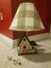 Rustic Birdhouse Lamp w Shade Baby Nursery Room Decor Bedside Table Lamp