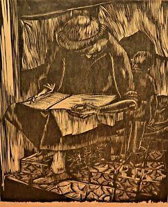 Jose Antonio Torres Martino Museum Xilografia Woodcut Reading Lectura Lithograph