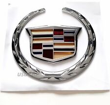"Front Grille 4"" Emblem Color Wreath Crest Badge Logo Symbol CADILLAC Ornament"
