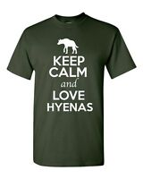Keep Calm And Love Hyenas Wild Canine Animal Lover Funny Humor Adult T-Shirt Tee