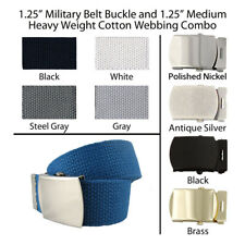 """3 Canvas Military Web Belt 1.25"""", 43 Colors, 6 Finishes & 12 Sizes to Pick From"""
