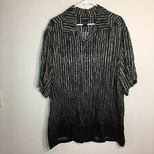 Women's Size Large Liz Claiborne Blouse Rayon Short Sleeve Black Grey EUC