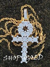 Mens Solid 925 Sterling Silverg Gold Iced Out 3.5ct Diamond Ankh Cross Pendant