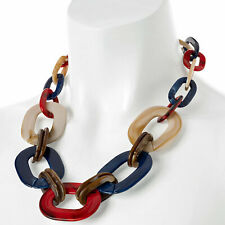 Rainbow colour large oval resin link trendy choker fashion jewelry necklace