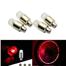 4 Pcs RED Car Bike Bicycle Wheel Tire Valve Spokes Neon Cap LED Lights Lamp