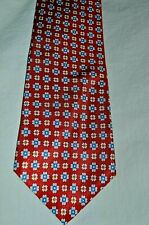 Dunhill ~London Classic Elegant Red Patterned 100% Silk Tie