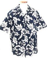 Rainbow Hawaii Mens Hawaiian Tropical Shirt XXL Navy Blue White Floral Cotton