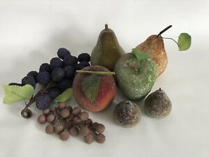 Lot of 8 Beaded Jeweled Frosted Faux Artificial Fruit