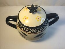 Temptations by Tara Old World Black, Yellow, Brown, Red Sugar Bowl with Lid