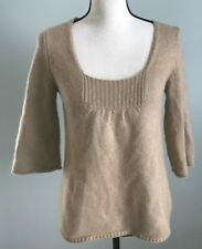 Ann Taylor LOFT Beige Cashmere Wool Blend Sweater With Bell Sleeves Size Small